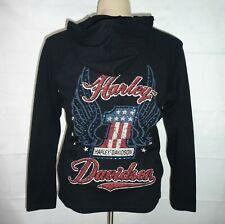 Harley Davidson Women 1W Black Cotton Blend Waffle Top Long Sleeve Hoodie Black
