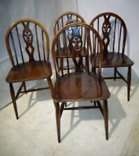 RETRO ERCOL SET OF 4 DINING CHAIRS VINTAGE BLUE LABEL KITCHEN CHAIRS