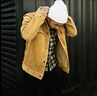 Mens Retro Lapel Corduroy Tooling Jacket Japanese Casual Outdoor Hot Sale Coat