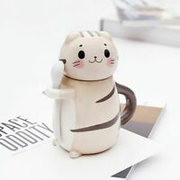 Cute Cat Ceramics Coffee Mug With Spoon Creative Hand Painted Drinkware Milk Tea