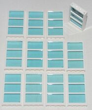 LEGO LOT OF 12 NEW 1 x 4 x 6 WHITE FRAMES AND TRANS-BLUE WINDOW TOWN CITY HOUSE