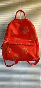 Tory Burch Bag Ella Backpack Logo Print Pockets Zipped Nylon Backpack NWOT