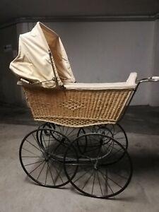 Kinderwagen Oldtimer mit Flechtkorb / Puppenwagen Blattfederung