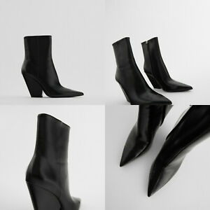 ZARA NEW COWBOY HEEL ANKLE BOOTS WITH POINTED TOE BLACK 1122/610