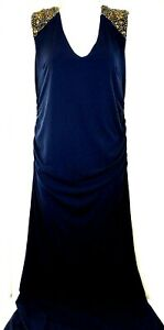 A Pea In The Pod Maternity Sleeveless Long Party Dress Small Blue Bronze Beading