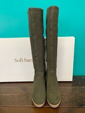 NEW Soft Surroundings Olive Suede Leather Tall Wedge Boots Women's Size 10