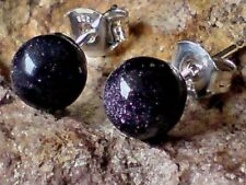 PRETTY STERLING SILVER & BLUE SANDSTONE SMALL 6mm. STUD EARRINGS £7.50  NWT