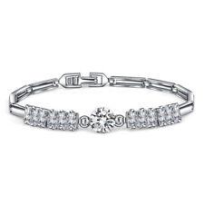 Water Design Round Gorgeous Shiny Natural White Topaz Platinum Plated Bracelets