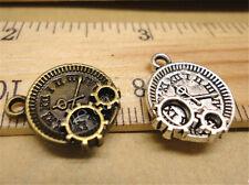 40/200/1000pcs Lot DIY Tibetan Silver Gear Clock Steampunk Charm Pendant 16x14mm