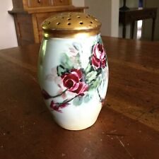 Painted Porcelain Sugar Shaker With Flowers And Gold Top