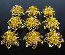 Set 10 Curlies Haarspiralen Strass Hochzeit Haarnadeln Braut Haarschmuck gelb