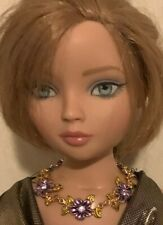 Purple Rhinestone Floral Necklace for Ellowyne and Similar Sized Dolls