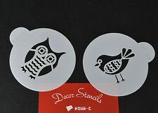 Cake Stencil Set of 2 OWL & BIRD Cake Cupcake Decorating Sugarcraft Tools UK!