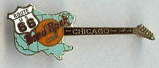 Hard Rock Cafe CHICAGO 1990s ROUTE 66 Teal Map Guitar PIN Back: Grid Boxed 4LC