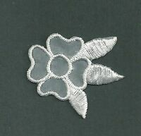"1 3/8"" x 1 1/2"" Four Petal White Bridal Wedding Flower Embroidery patch"