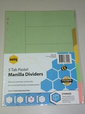 Marbig 5 Tab Pastel Manilla Dividers 37000 A4 file dividers indices document