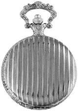 Taschenuhr Weiß Silber Klassik Streifen Analog Quarz Metall D-180322000019500