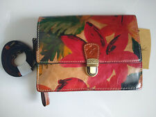 NWT Patricia Nash Red Green Spring Multi Floral Leather Wristlet Crossbody Bag