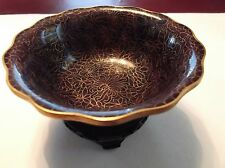 EUC Cloisonne bowl with stand purple gold colors very beautiful -