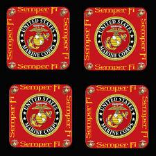 US Marine Corps Semper FI Rubber Coaster Set of 4