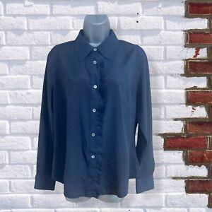 Artigiano - Womens UK 14 Navy Blue Long Sleeve Buttoned Collared Frill Shirt