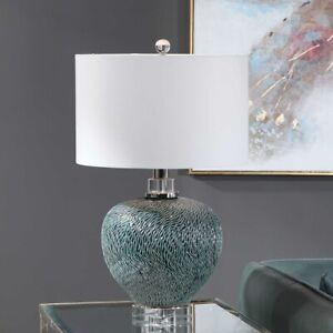 "ALMERA TEXTURED CERAMIC XXL 26"" ACCENT TABLE LAMP THICK CRYSTAL BASE UTTERMOST"