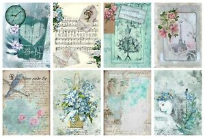 VINTAGE BLUE - 2 x A4 SHEETS OF CARD TOPPERS -  SCRAPBOOKING - 250GSM
