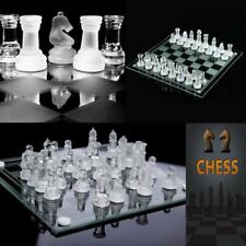 Glass Chess Set Elegant Pieces and Checker Board Game Frosted Black White H3R3