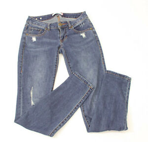 CAbi Style 5087 Women's Skinny Distressed Blue Destructed JEANS Size 0