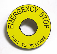 ABS Safety Yellow Emergency Stop label/legend plate - Pull