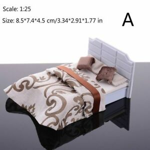 1/25 Scale Dollhouse Miniatures Double Bed Furniture Model Kids Toys Home Adorn