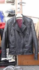 vintage WOLF BLACK leather motorbike jacket sz 34 XS motorcycle biker punk rock