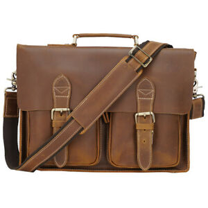 """Men Leather Business Briefcase Satchel 14"""" Laptop Handbag Messenger Shoulder Bag"""