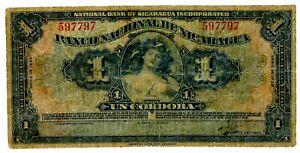 Nicaragua ... P-63b ... 1 Cordoba ... 1939 ...* F *