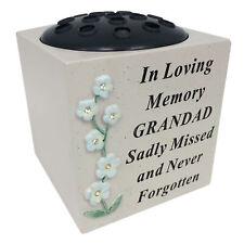 David Fischhoff Abuelo Memorial Forget Me Not Rosa Cuenco Tumba Flor Florero