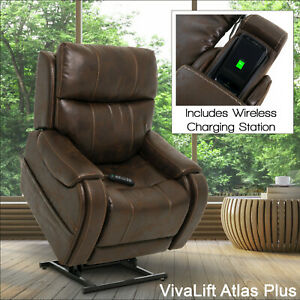 Atlas Leather Dual Motor Riser Recliner chair USB and wireless phone charging