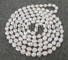 "white baroque freshwater pearl necklace P7759 - 64"" 10-12mm natural"