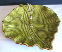 VTG California Pottery USA Green Ceramic Leaf Platter Tidbit Tray M703 FREE SH
