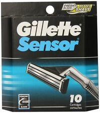 Mens Gillette Sensor Razors Blades, 10 Cartridges, FREE SHIPPING