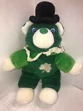 St Patricks Day Teddy Bear Shamrocks With black top Hat and collar green & white