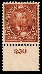US #270 1895 5c Grant, Plate Number 250. Unused OG, NH/PSE Cert. KP-022