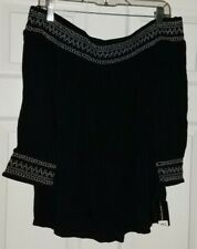 $69 NWT INC Black Womens Off Shoulder Peasant Shirt Top Size M Medium