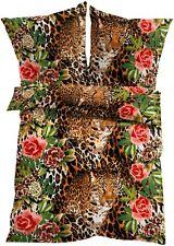 Bettwäsche Löwen Rosen Blumen Garnitur mit Reißverschluss 135 x 200 cm