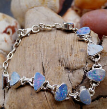 Armband Silber Opal Boulder 17 - 20 cm Blau Schlicht Flash Modern Feuer Elegant