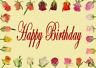 Lentikular -Wackelkarte: Aufblühende Rosen umranden Inschrift: Happy Birthday