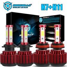 4 Sides H7+H11 CREE 2Pair LED Headlight Light Bulbs Turbo with Drive White 6500K