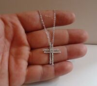 925 STERLING SILVER DOUBLE CROSS NECKLACE PENDANT W/ 2 CT  LAB DIAMONDS / 18''
