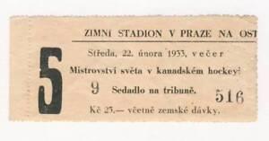 1933 WORLD Ice HOCKEY Championships TICKET Czechoslovakia vs. Switzerland RARE