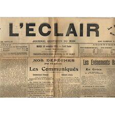 L'ÉCLAIR 16-11-1915 Foot QUISSAC-CANAULES 8 à 0 SUMÈNE Arrestation à BEAUCAIRE