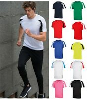 Mens AWD Contrast Cool T Shirt Fitness Breathable Sports Running Training Top